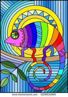 Illustration in stained glass style with abstract geometric rainbow chameleon - Vitrais - Flores Art Nouveau, Matisse Kunst, Matisse Art, Mandala Art, Stained Glass Projects, Stained Glass Art, Cameleon Art, Art Deco Typography, L'art Du Vitrail