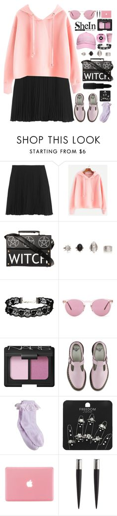 """Shein Pink Drawstring Hooded Sweatshirt"" by blood-under-the-skin ❤ liked on Polyvore featuring Halston Heritage, ASOS, MAKE UP STORE, Oliver Peoples, NARS Cosmetics, Dr. Martens, Topshop and Eddie Borgo"