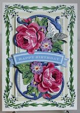 HAPPY BIRTHDAY PINK FLORAL BUTTERFLY HANDMADE GREETING CARD ANNA GRIFFIN STYLE