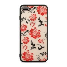 Lace Case For iPhone X 10 Cover For iPhone 6 7 8 plus Case Silicone Transparent Pink Black Flowers Cute Fashion Fundas Iphone 8 Plus, Iphone 7, Iphone Cases, Black Flowers, Red Roses, Cute Fashion, Rose Phone Case, Floral Design, Beautiful