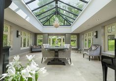 Flat roof orangery with roof lantern and Residence 9 windows Orangerie Extension, Kitchen Orangery, Conservatory Decor, Roof Lantern, Roof Installation, Planning Permission, House Extensions, Sustainable Architecture, Window Design