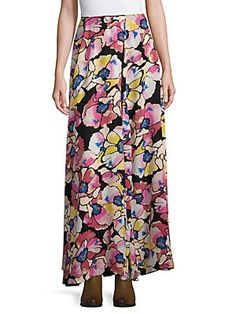 Ankle Length Floral-Print Wrap Skirt, Women's, Size: 6, Hot Topic