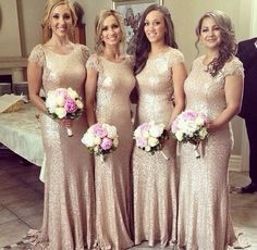 Short Sleeve 2016 Gold Sequins Bridesmaid Dresses Scoop Collar Court Train Beaded Sequins Long Formal Prom Gowns Evening Wear Dress Wedding
