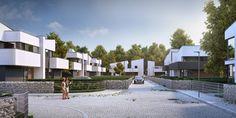 2nd stage of Mamurowe Housing Estate in Lodz / Drugi etap osiedla Marmurowe to trzy nowoczesne budynki w zabudowie bliźniaczej, w których zaprojektowano po cztery niepowtarzalne i komfortowe mieszkania, wyposażone w przestronne tarasy i ogrody. Każdy z apartamentów posiada osobne wejście i wjazd oraz garaż wbudowany w bryłę budynku, dzięki usytuowaniu na wewnętrznej działce z dostępem z dwóch równoległych ulic wewnętrznych.