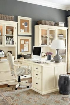 Traditional Home Office with Crown molding, West Elm Moorish Tile Printed Curtain, Imax Worldwide Essentials Garden Stool