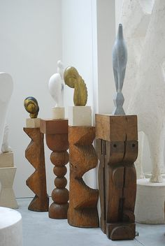 Constantin Brancusi in the Atelier Brancusi, Paris in a building by Renzo Piano.