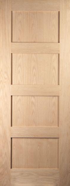 4 Panel Shaker Oak Veneer Internal Fire Door, (H) 1981 (W) 838 mm | Departments | DIY at B&Q
