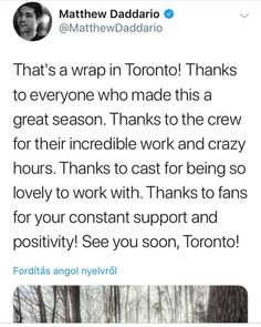 Matt has wrapped up filiming season 3 of Shadowhunters! See you soon?