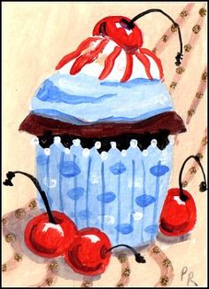 Acrylic Chocolate Cherry Cupcake Delight by TinyPainter
