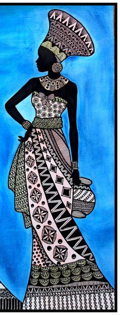 African Drawings, African Art Paintings, Abstract Paintings, Oil Paintings, Buddha Kunst, Buddha Art, Art Drawings Sketches Simple, Pencil Art Drawings, Zantangle Art
