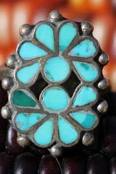 Vintage Southwestern Zuni Style Sterling Silver Inlay Turquoise Ring | eBay