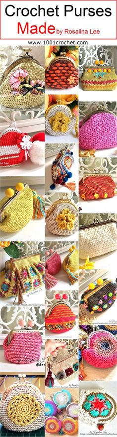crochet-purses-made-by-rosalina-lee Crochet Phone Cases, Crochet Shell Stitch, Frame Purse, Love Crochet, Crochet Ideas, Crochet Baby, Knit Crochet, Crocheted Purses, Knitted Bags