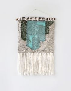 Emerald Abstract Weaving HandWoven Wall Hanging | Hello Hydrangea