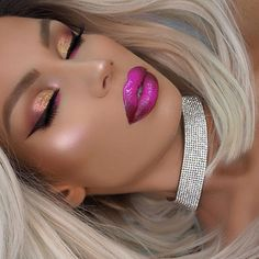 Shimmer eyes and ombré lips. Liquid Liner, Liquid Lipstick, Kiss Makeup, Makeup Art, Ofra Highlighter, Ombre Lips, Dramatic Eyes, Pink Blossom, Make Me Up