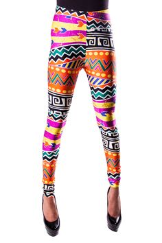 Wild and eccentric, these are perfect for someone with a free spirit and a crazy wardrobe....  http://www.etsy.com/listing/50950219/tribal-aztec-printed-leggings-fallwinter?ref=hp_tt_yt#