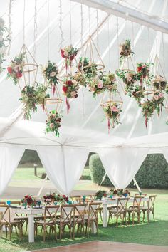 Hanging Geometric Floral Fixtures for This Hawaii Reception | Wedding by Moana Events
