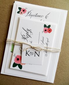 Belles Fluers Wedding Invitation Suite by AbbieLeeDesigns on Etsy, $3.50