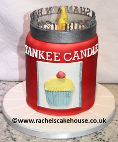 Yankee Candle Cake for a 21st birthday celebration. Red candle cupcake flavour