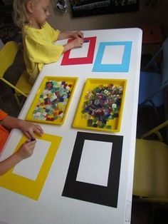 Framing up tabletop play:  Adding simple matte board frames as a work/design space created new interest in existing materials!