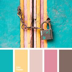 chocolate, color matching, color solution for house, deep pink, grey brown, honey-yellow, light blue, pale pink, saffron, shades of pink, turquoise, warm yellow, Yellow Color Palettes.
