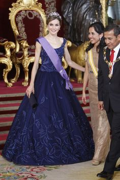King Felipe VI of Spain and Queen Letizia of Spain host a dinner for Peruvian President Ollanta Humala Tasso and wife Nadine Heredia Alarcon at the Royal Palace on July 7, 2015 in Madrid, Spain.