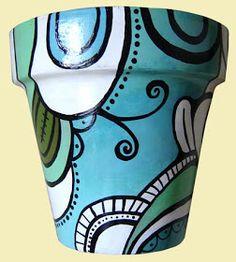 ROMALA: Macetas Pintadas Paint Garden Pots, Painted Plant Pots, Painted Flower Pots, Clay Pot Crafts, Flower Pot Crafts, Mosaic Pots, Mosaic Glass, Pottery Painting, Ceramic Painting