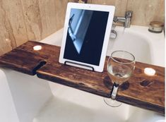 Bathroom Bath Tub Caddy / Tray with Wine, Candle & Book or iPad Holder
