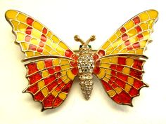 This Ciner butterfly pin will be 1/2 the listed price for the Oct. 27th one day sale only.  Begins at 8AM - 8AM Sunday!  If interested, wish list it now.  Vintage CINER Enamel Butterfly Pin.  $88