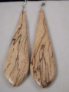 Large Handmade Spalted Tamarind Wood Earrings | northstar - Woodworking on ArtFire