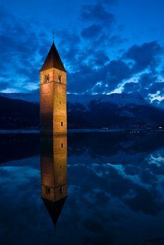 Reschenpass Lake & Sunken Church Tower of Old Graun ~ South Tyrol, Italy