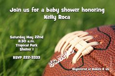 Football baby shower invitations.  Design online, download and print immediately!