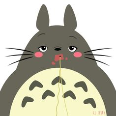 Day 71. Totoro doesn't work out to lose weight. He does it so he can eat more spaghetti.