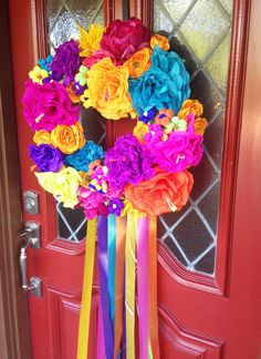 Create a simple, colorful, floral Fiesta wreath that& perfect for Easter, springtime, or summer in just a few easy steps. Mexican Fiesta Party, Fiesta Theme Party, Taco Party, Diy Wreath, Wreaths, Mexican Babies, Fiestas Party, Paper Flowers, Party Time