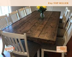 This amazing custom Farm House Table is built directly in our home by my wife and I! The one in the featured picture is an x thick-wrapped farm table stained in beautiful espresso! The rest of the pictures are a x - exact same design! Rustic Farm Table, Farmhouse Dining Room Table, Farm Tables, Dining Rooms, Wood Tables, Kitchen Dining, Rustic Tabletop, Trestle Tables, Walnut Kitchen