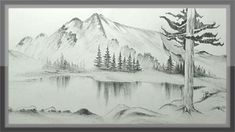 Pencil Sketch Mountain - Drawing scenery of mountains and trees with pencil time lapse Easy pencil drawing mountain landscape scenery step by step Mountain pencil sketch and pencil. Mountain Landscape Drawing, Landscape Steps, Landscape Art, Landscape Paintings, House Landscape, Pencil Sketches Landscape, Landscape Drawing Tutorial, Landscape Drawings, Pencil Sketching