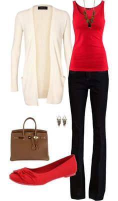 Red tanktop black pants ivory cardigan brown bag red flats