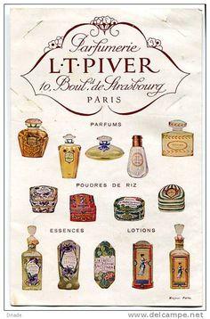 Parfumerie L. T. PIVER - Delcampe.net Perfume Packaging, Perfume Ad, Cosmetics & Perfume, Vintage Perfume Bottles, Vintage Labels, Vintage Ads, Makeup Vintage, Vintage French Posters, Perfume Making