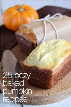 25 Cozy Baked Pumpkin Recipes. I am baking the pumpkin cheesecake muffins right now!!!