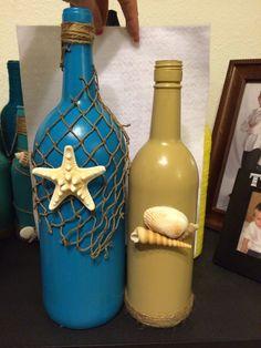 Beach themed wine bottles