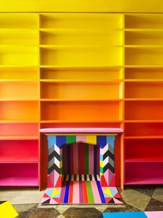 colorful library Interior Design Inspiration, Home Decor Inspiration, Interior Ideas, Floor Murals, Colourful Living Room, Girl House, Craft Storage, My Living Room, House Colors