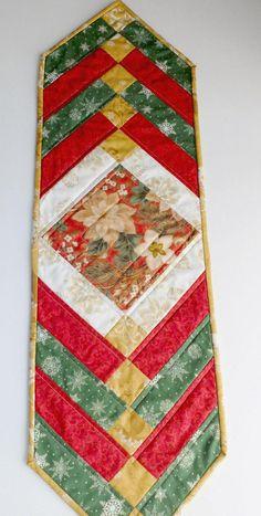 Trenza francesa de Navidad patchwork acolchado tablerunner.