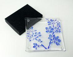 blue blossom glass coasters  set of 4  royal blue cherry