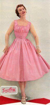 Pink prettiness from Teena Paige Fashions, 1954. #vintage #fashion #dress #1950s