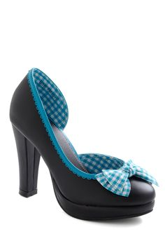 Pick-nic a Date Heel - Party, Vintage Inspired, Black, Blue, White, Solid, Checkered / Gingham, Bows, Cutout, Scallops, Trim, Spring, Rockabilly
