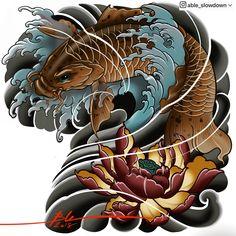 Dragon Tattoo Images, Koi Dragon Tattoo, Pez Koi Tattoo, Koi Tattoo Sleeve, Japanese Koi Fish Tattoo, Japanese Tattoo Designs, Koy Fish, Koi Fish Designs, Koi Tattoo Design