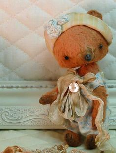 Miss Nettie Wren - a teacup sized mohair & silk artist bear handsewn by Sweet Souls Bears