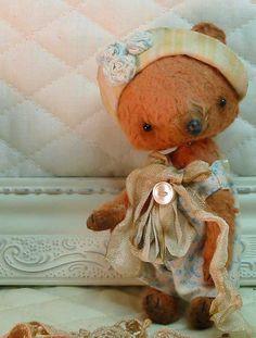 Miss Nettie Wren - a teacup sized mohair & silk artist bear handsewn by Sweet Souls Bears