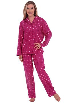Del Rossa Women's Flannel Pajamas, Long Cotton Pj Set, XL Pink with White Dots (A0509Q06XL)