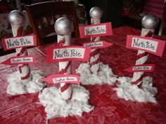 "North Pole Centerpiece - cute craft to pair along with ""The Polar Express"" perhaps?"