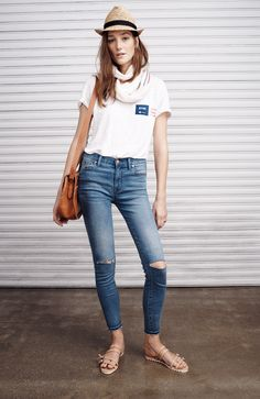 Madewell high riser jean worn with linen tee + the clemente sandal.